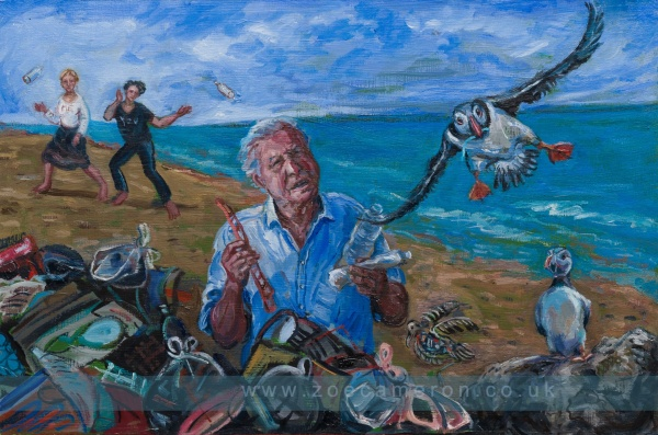 Human impact on Nature: Environmental Crime. Painting showing Sir David Attenborough. showing us our plastic is killing marine life and birds, and that we need to clean up.Two figures behind him throw down plastic and a puffin flies in from the sea to feed its chick with plastic