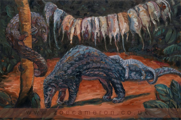 painting of dead pangolin hanging on a line and mother and baby alive, with another up a tree. Asia/Africa . One Pangolin is illegally taken from the wild every 5 minutes. A newly discovered fingerprint technique may help to save them from extinction.