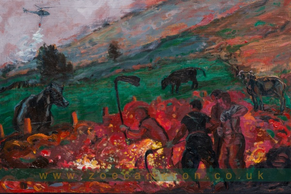 Painting about Pennine Moor, Lancashire, UK.It shows men fighting the flames as night falls, with cattle watching in the landscape . The Army helped over 100 firefighters to battle the worst Wildfire there in living memory. It's been burning for weeks. Ex Votive. Oil on board. 100 painted vows