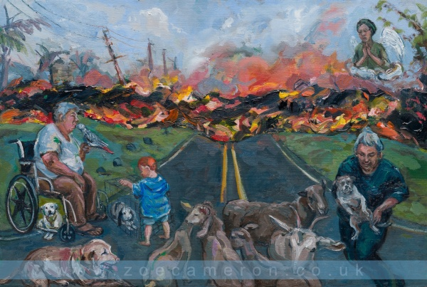 Painting about Hawaii. Kilauea Volcano erupts.Volunteers braved molten lava and fumes to rescue pets and animals on Big Island.Molten lava runs down the road towards a woman in a wheel chair with a parrot and dogs, a child with a caged rabbit and a woman who has rescued a dog and sheep. Ex Votive