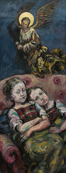 A Painting of Sisters cuddle up on the sofa. One has passed away. An Angel watches over above.