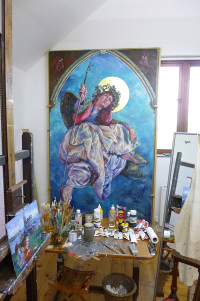 A painting of Arch Angel Michael, Diptych.