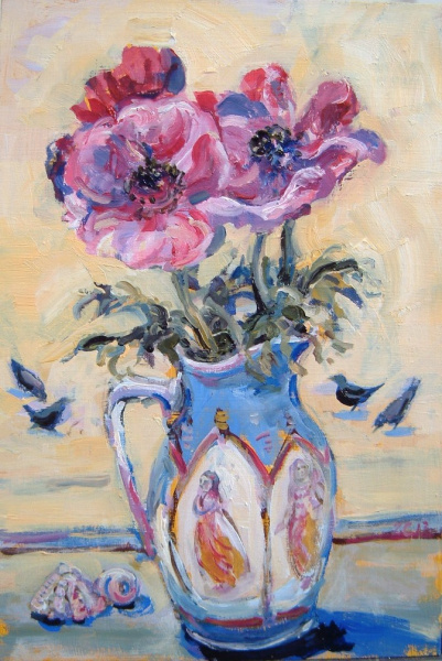 A painting of a jug full of anemones with birds beyond