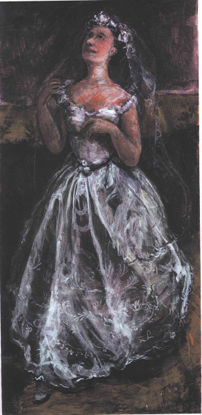 Painting of a bride in full gown who walks towards us from the dark background.