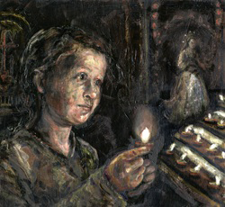A painting of a child lighting a candle in a church