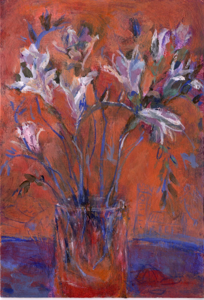 A painting of freesia flowers in a glass .