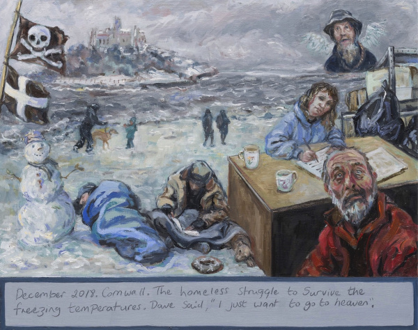 """A Prayer painting showing homeless people sleeping in winter . Behind is St Michaels Mount - December 2018 . Cornwall . The homeless struggle to survive the freezing temperatures . Dave said ,"""" I just want to go to heaven """". St Petrocs help ."""
