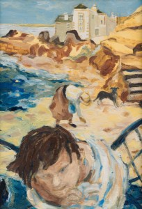 A painting of Beachcombers with a dog at Marazion, Cornwall.