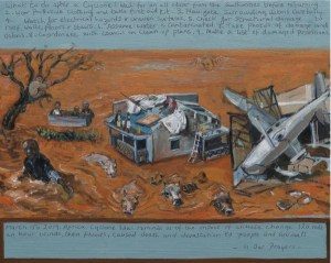 A painting about Africa's Cyclone Idai and climate change . Showing floods, and devastation, people who need rescuing and animals swimming for land .
