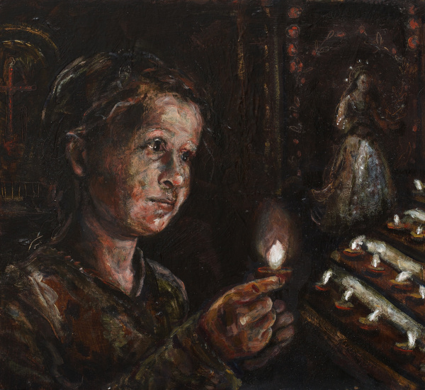 A tonally dark painting of a child lighting a church candle, behind her is a painted figure.