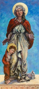 Full figure painting of Mary with Jesus as a child, arms open to welcome visitors to the healing chapel where she hangs in St Breaca Church, Breage, Helston.
