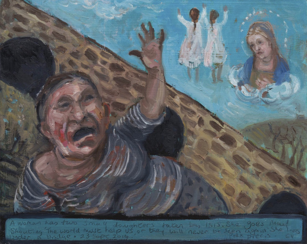 A painting. A woman by a bridge is distraught , her 2 daughters disappear into the sky taken from her by Isis.