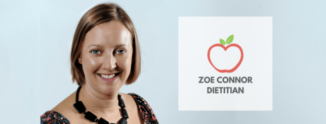 Head shot of Zoe Connor and her logo of an apple with Zoe Connor Dietitian below it