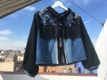 Sold - Black sequined lace and fring , blue jean and black cotton Jacket