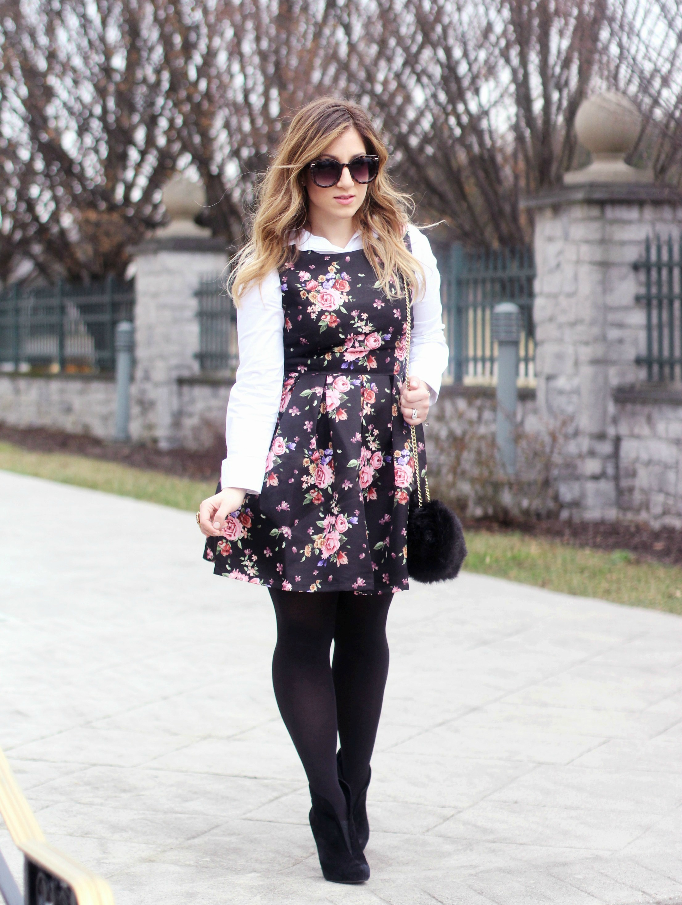 Zoe With Love styles a black floral print dress, perfect for winter and into spring
