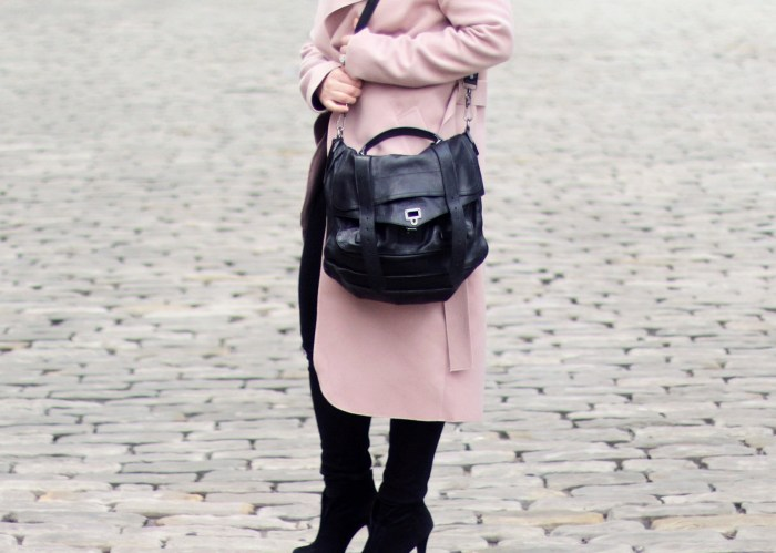 all black and dusty pink coat