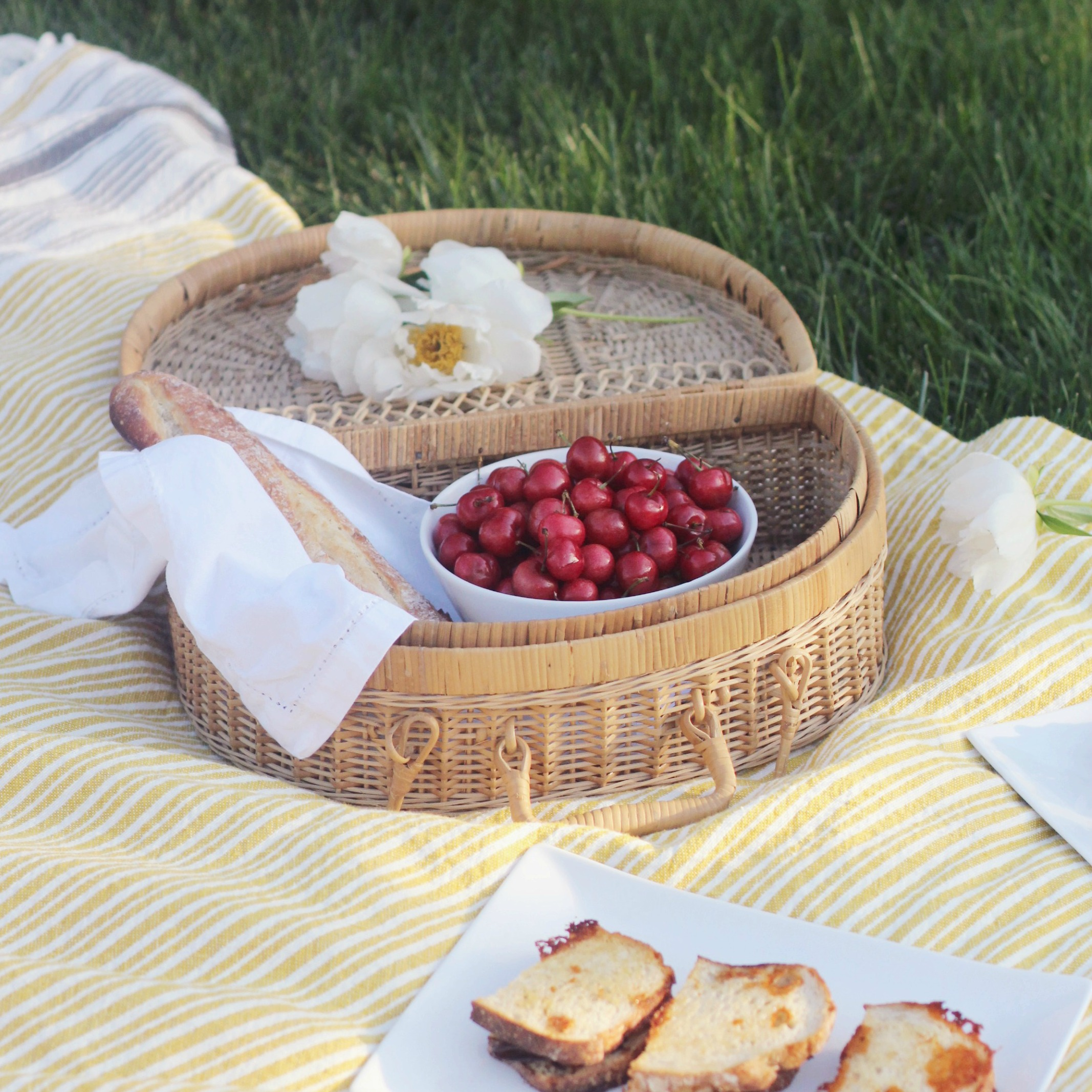 Vintage Picnic Basket with Cherries