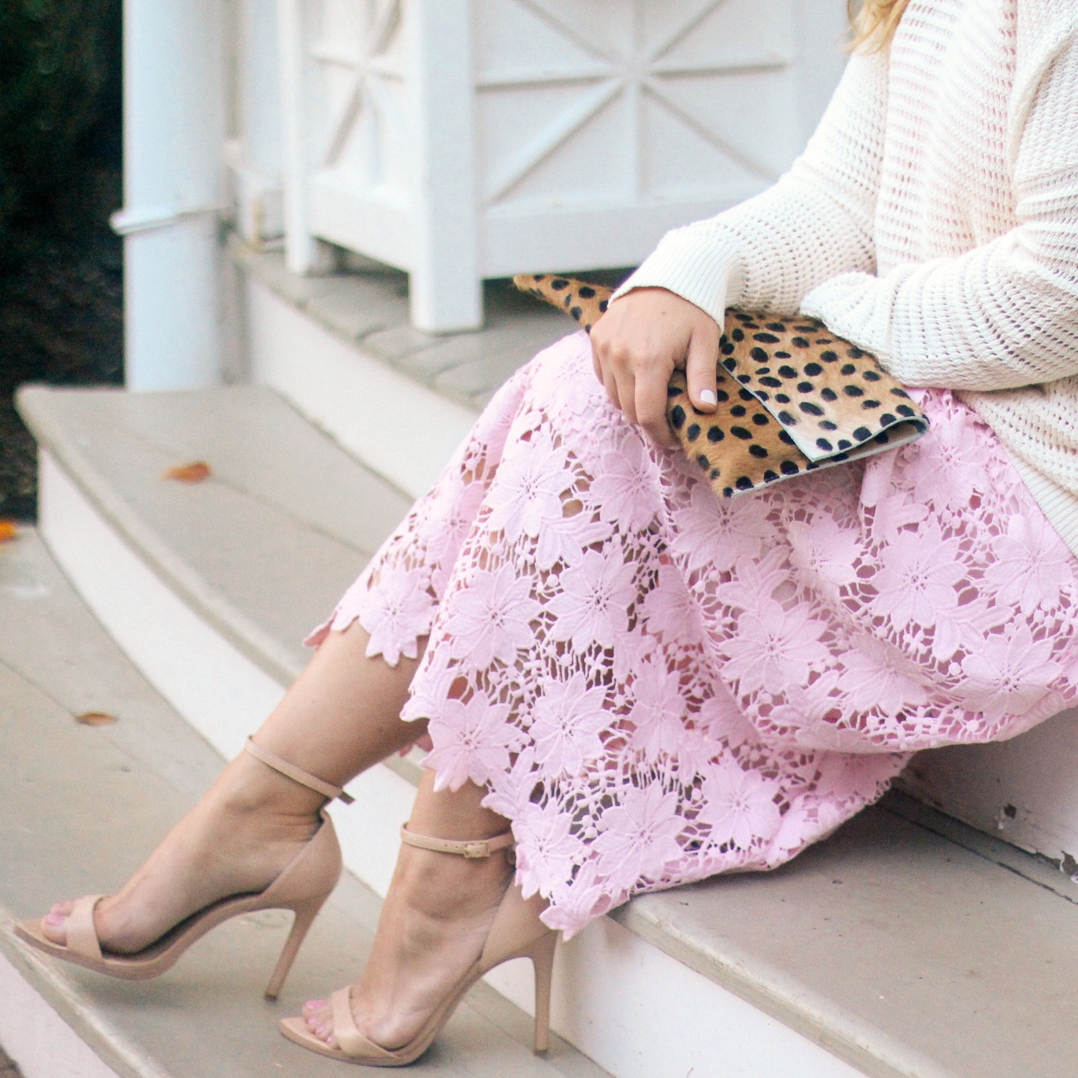 Slouchy Sweater, Pink Lace Dress and Leopard Clutch