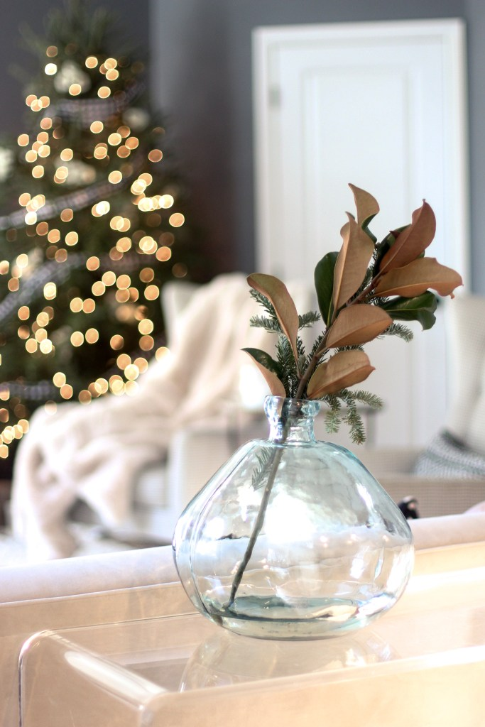Fresh magnolia in vase, living room Christmas Tour | Zoe With Love, Pittsburgh Lifestyle Blog