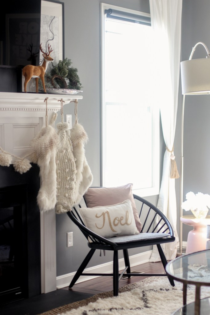 Faux fur and cable knit pom stockings, Living room Christmas Tour | Zoe With Love, Pittsburgh Lifestyle Blog