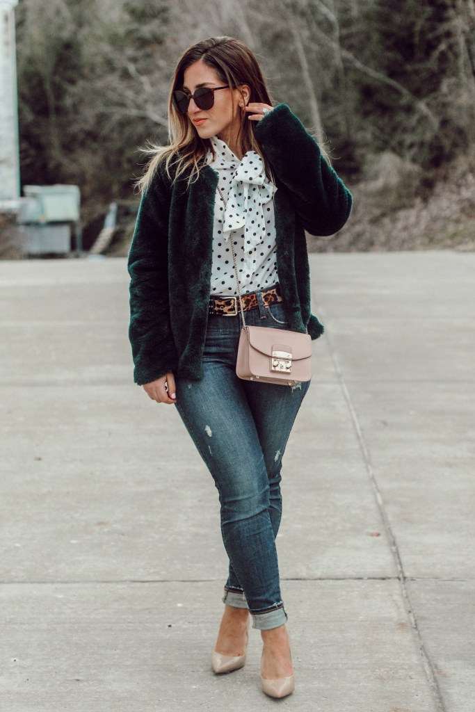 Green Faux Fur Coat, Polka Dot Blouse, One Outfit, Two Ways: Colored Jackets + Nude Shoes | Pittsburgh Lifestyle Blogger, Zoë With Love
