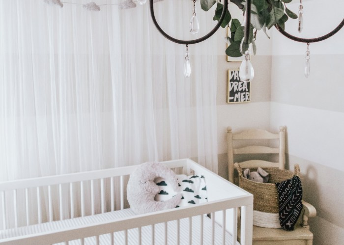 A Striped Neutral Colored Nursery with a Touch of Green