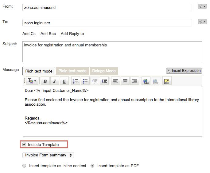 Send Mail Task Help Zoho Creator