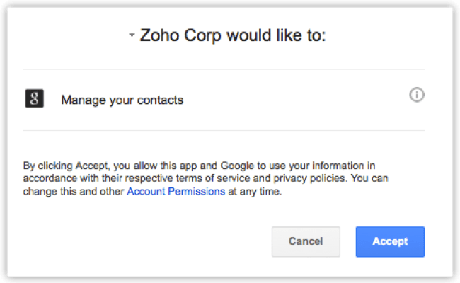 Activating Google Contacts Calendar Online Help Zoho Crm