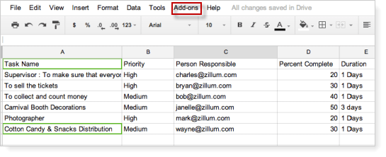 Collaborate with Zoho Projects using Google Spreadsheet : Zoho Projects