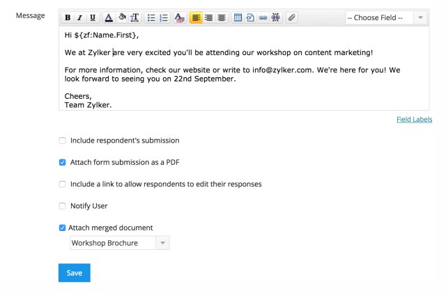 E-Mail-Benachrichtigungen in Formularen  Online-Formular-Builder