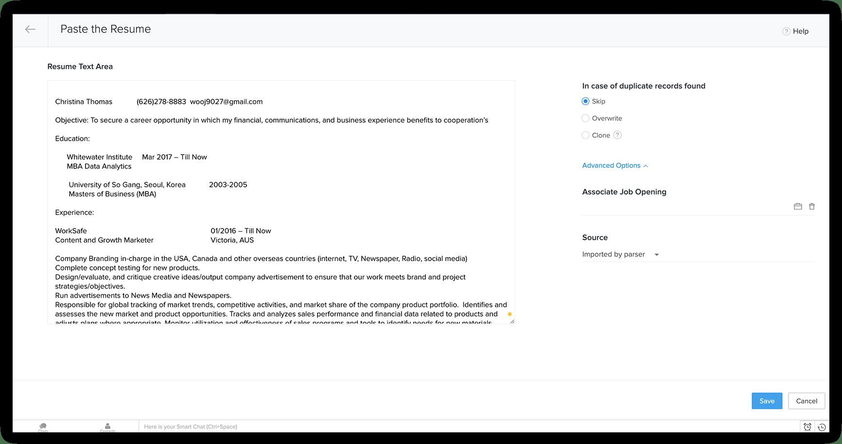 resume parsing in zoho recruit