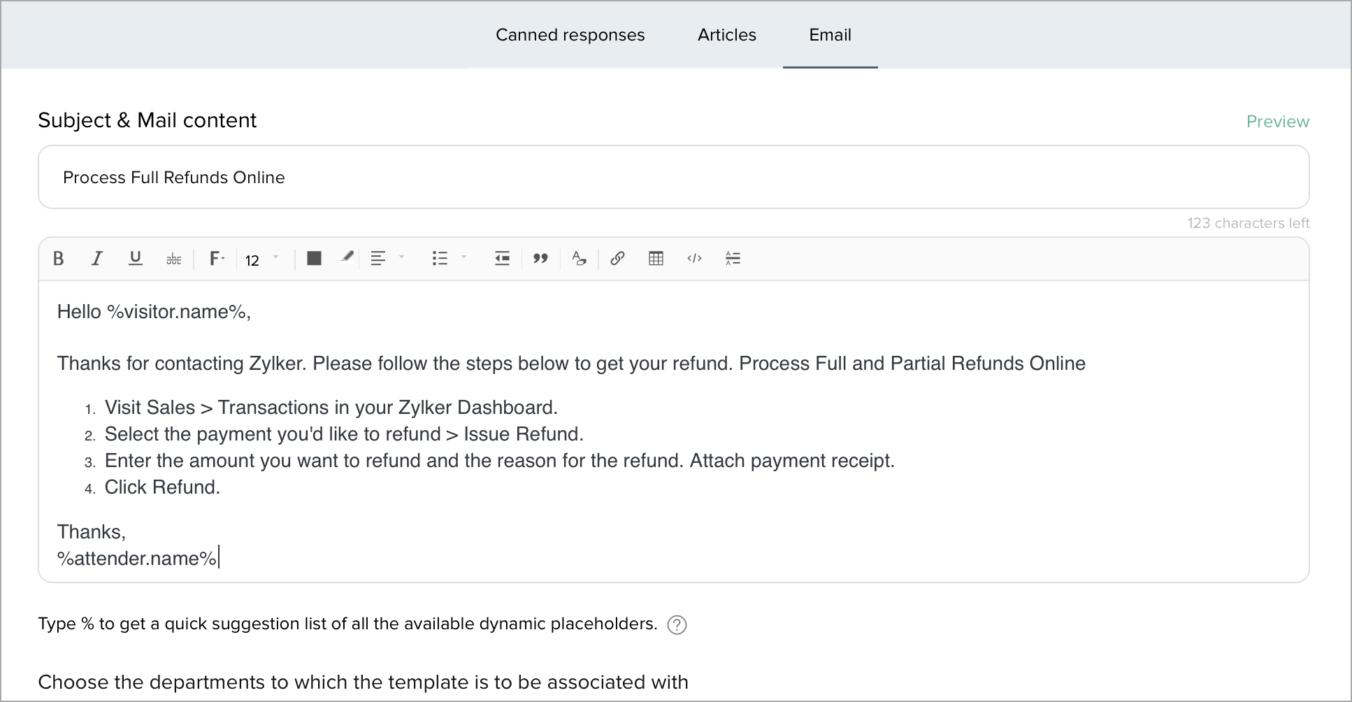 Refund not received email template. Adding An Email Template Zoho Salesiq