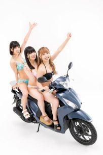 仮面女子とバイク Honda Dio110・大鈴はるみ・北川美咲・陽向こはる