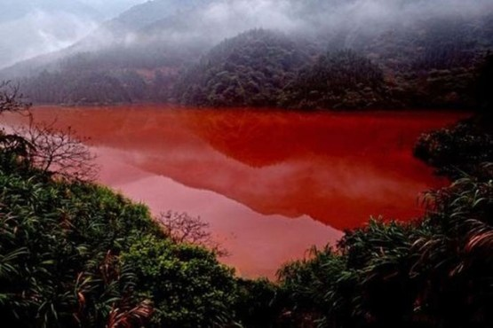 Reservoir that turned red because of pollution