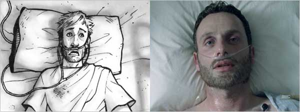 Rick's awakening both in the comic and in the tv series