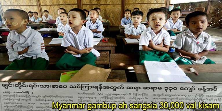Myanmar gambup ah sangsia 30,000 val kisam ahih manin, kumsim in sangsia 10,000 ki behlap totoding