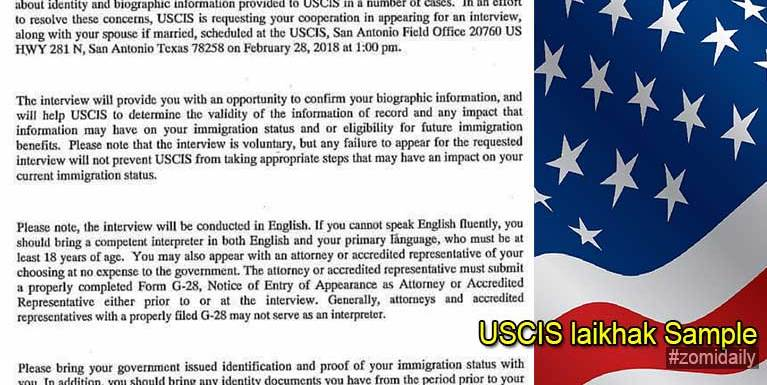 USCIS laikhakvai: Letter Sent to Several Burma Refugees Living in Des Moines