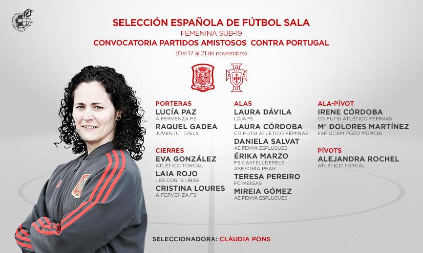Convocatoria de la Sub-19 de Fútbol Sala Femenino para dos amistosos frente a Portugal