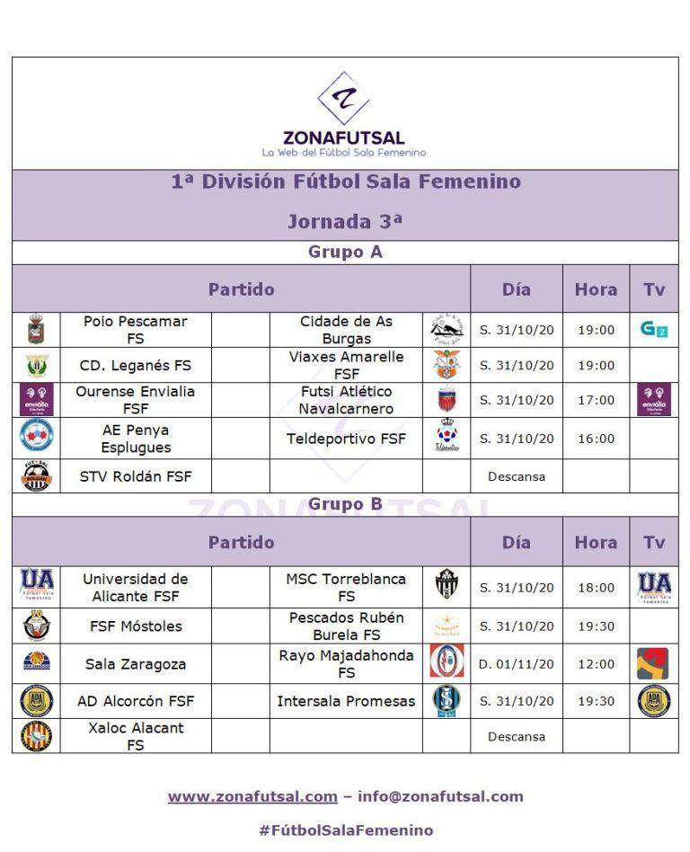 Horarios 1ª División de Fútbol Sala Femenino - Jornada 3ª