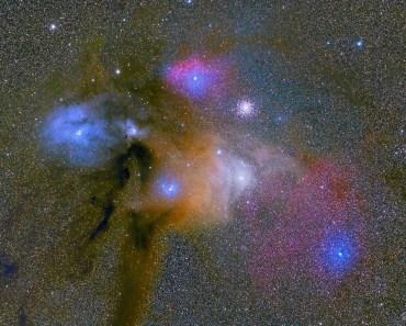 Coloridas nubes cerca de Rho Ophiuchi