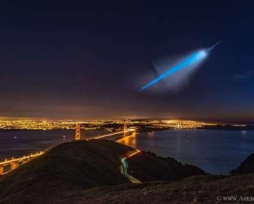 Un inesperado penacho de cohete sobre San Francisco