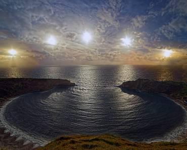 Sol de solsticio en Lulworth Cove