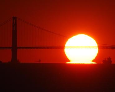 Puesta de Sol en el Golden Gate con rayo verde