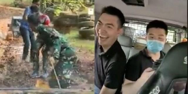 Miris Lihat Video Ini : Anak Muda China Ngakak Numpang Mobil Mogok Yang Ditarik TNI