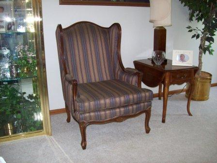 Custom-upholster-or-slipcovers-chair-navy-striped-fabric-Zona's-Drapery-House
