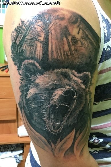 Tatuaje de Osos Animales rboles