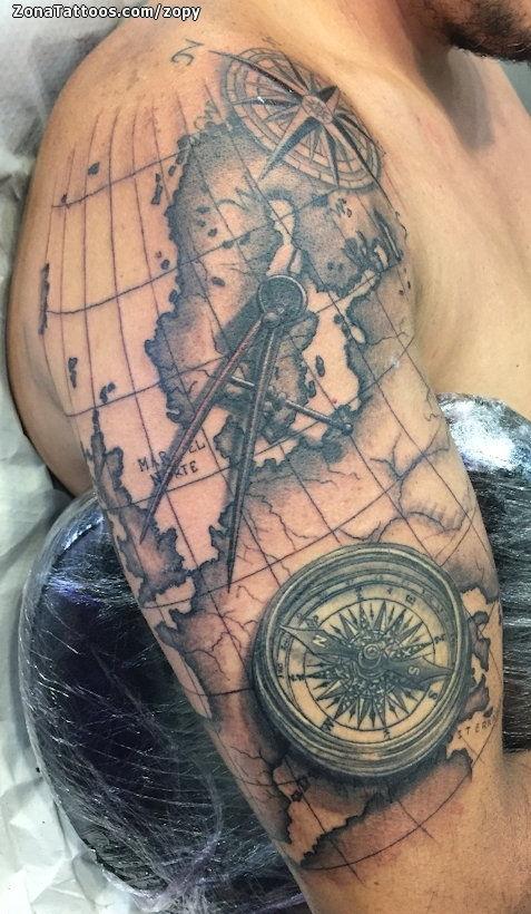Tatuajes Y Diseños De La Rosa De Los Vientos