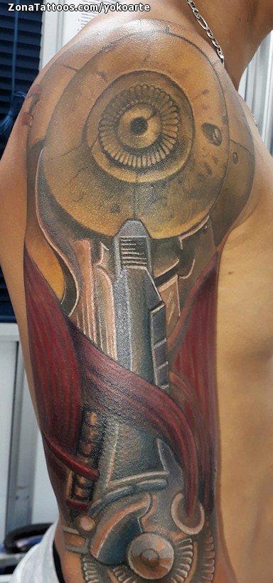 Tatuaje De Biomecánicos Brazo Hombro