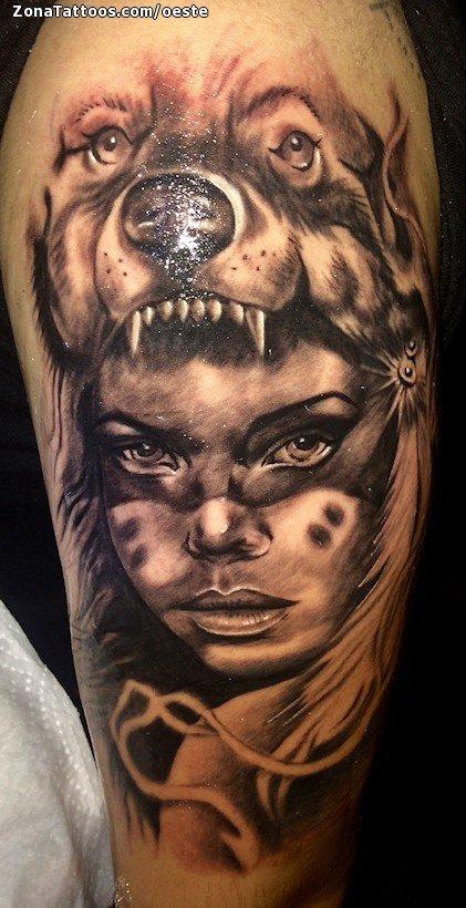 Tatuaje De Indios Lobos