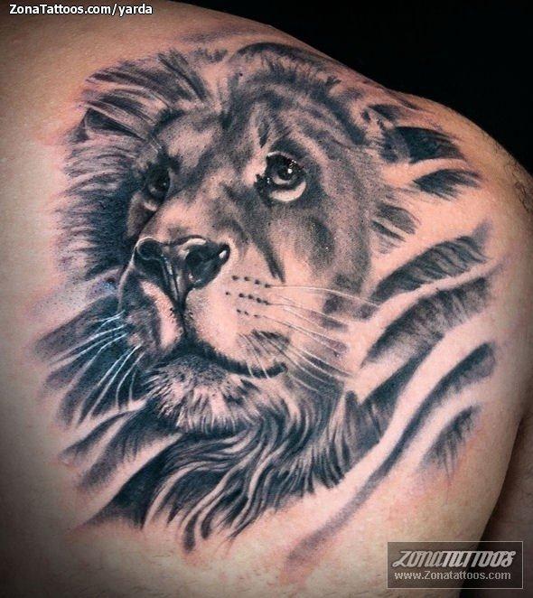 Tattoo Of Shoulder Blade Animals Lions